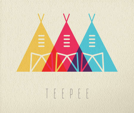 teepee: Tipi tent concept icon, illustration of native american indian traditional house in color style over texture background. EPS10 vector.