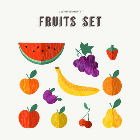 Set of different fruit icons with trendy wood texture in flat style, apple orange and more ideal for healthy eating concept design. EPS10 vector.
