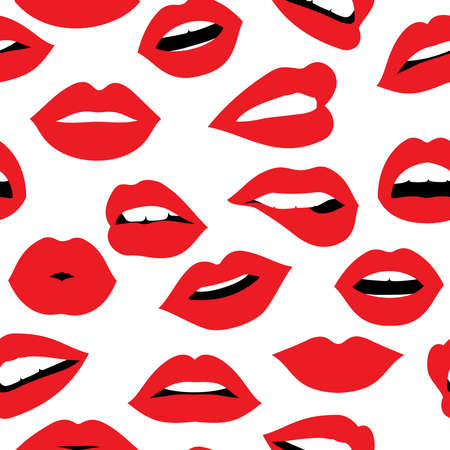red lipstick: Girl mouth seamless pattern background, woman lip with red lipstick expressing different emotions and gestures. EPS10 vector.