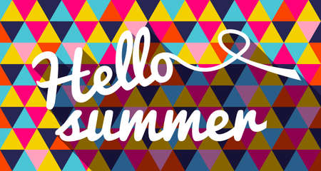 Summertime banner, hello summer quote text with geometric vibrant color triangle background. EPS10 vector.
