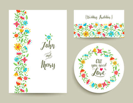 celebration card: Beautiful floral wedding card invitation template with modern colorful flower designs ideal for spring celebration. EPS10 vector.