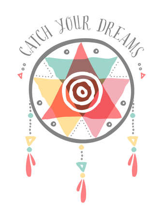 catch: Catch your dreams boho illustration, tribal native american dreamcatcher with colorful shapes and spiritual elements. EPS10 vector. Illustration