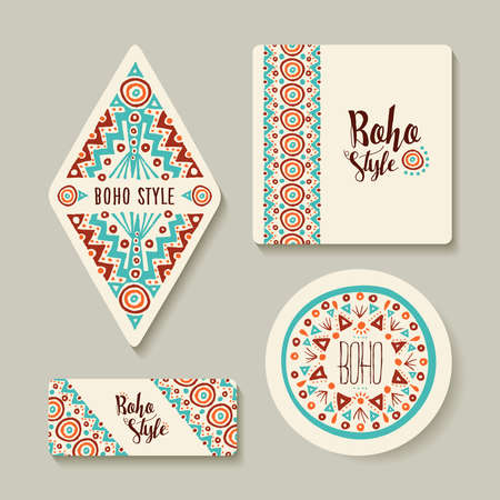 boho: Boho style printable tags with tribal handmade designs. Different label templates for shop or decoration. EPS10 vector. Illustration