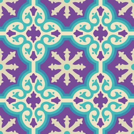 Vintage moroccan carrelage en céramique pattern avec des formes géométriques et des couleurs modernes. vecteur EPS10. Vecteurs