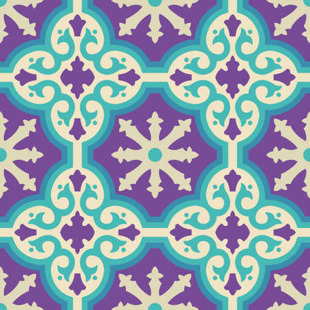 iberian: Vintage moroccan ceramic floor tile seamless pattern with geometric shapes and modern colors. EPS10 vector.