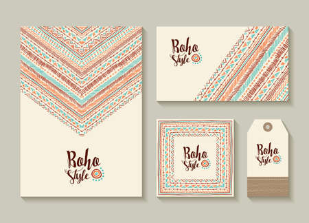 Boho style collection of card, label and tag templates with cute handmade tribal art designs. EPS10 vector.