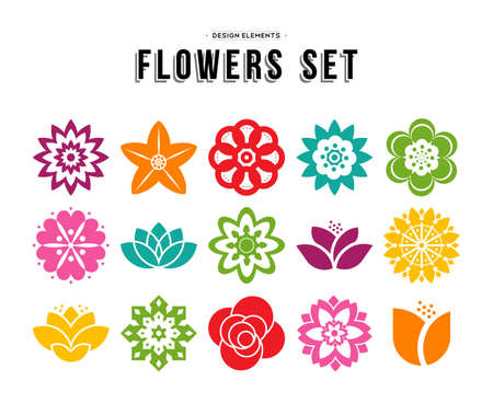 Colorful set of different flowers in modern flat art illustration style, floral nature icons lotus, lily, rose, and more. EPS10 vector. Çizim