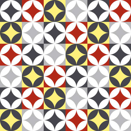 wall decor: Vintage mosaic tiled seamless pattern in patchwork style with antique geometric shape decoration. EPS10 vector.