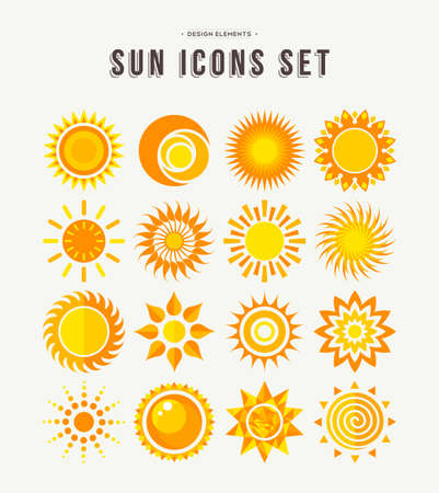Set of sun icon illustrations, abstract yellow designs in flat art for weather or climate project. EPS10 vector.