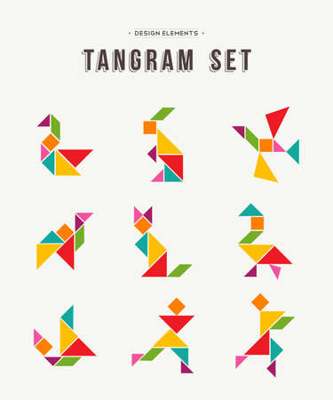 Colorful set of tangram game icons made with geometry shapes in abstract style, includes animals and people. EPS10 vector.
