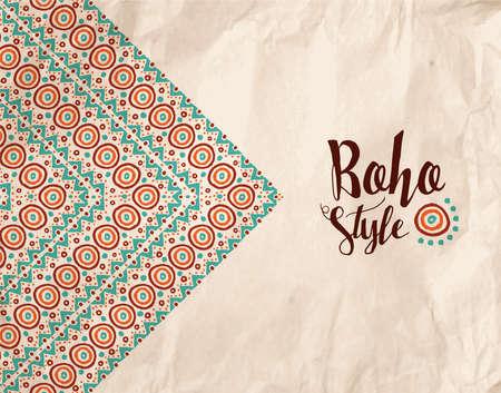 estilo boho diseño de papel kraft con textura colorida ilustración hecha a mano tribal de formas geométricas y rayas. EPS10 del vector.