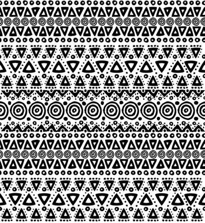 black borders: Boho seamless pattern in black and white colors with tribal stripes and handmade geometric shapes. EPS10 vector.