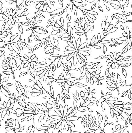 creeper: Floral spring pattern background in black and white with flower outlines and nature elements ideal for adult coloring book. EPS10 vector.