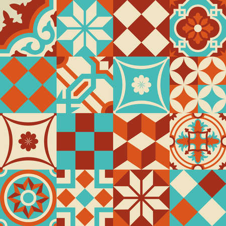 a tile: Traditional ceramic mosaic tile seamless pattern illustration mixed with modern vibrant colors and shapes in patchwork style. EPS10 vector.