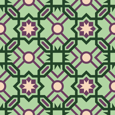iberian: Abstract ceramic mosaic floor tile seamless pattern with geometric moroccan shape design in green color. EPS10 vector.