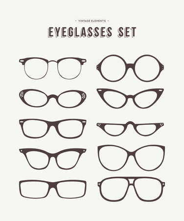 eyeglass: Set of retro eyeglass icons in fashionable hipster vintage style, classic eye wear symbol collection. EPS10 vector.