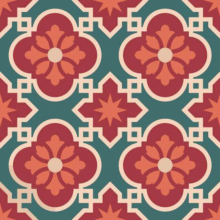Vintage ceramic mosaic floor tile seamless pattern, traditional ornate red floral design. EPS10 vector.