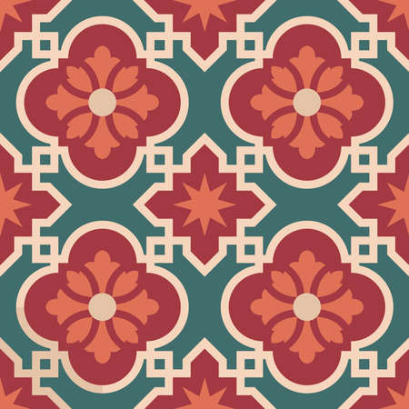 tiles: Vintage ceramic mosaic floor tile seamless pattern, traditional ornate red floral design. EPS10 vector.