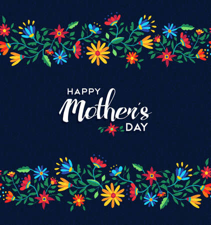 Happy mothers day illustration design for celebration event, spring time flower seamless pattern background. EPS10 vector.