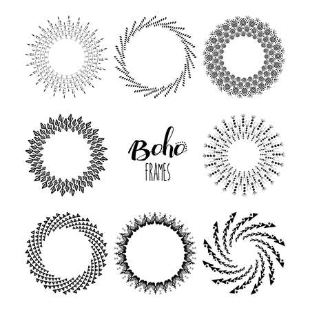 wreath collection: Boho style mandala frame set with hand drawn tribal shape decoration, black and white wreath collection. EPS10 vector. Illustration