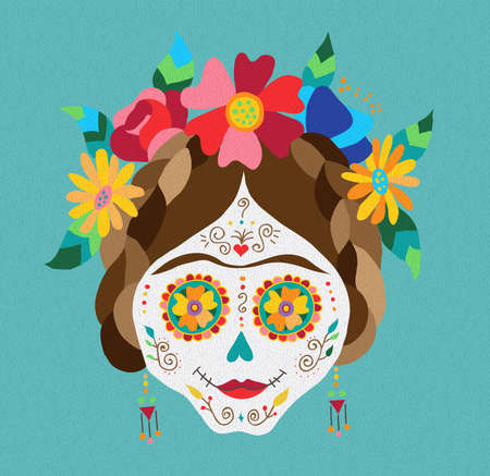 Traditional mexican catrina skull with paint decoration and colorful spring time flower arrangement on hair. EPS10 vector.