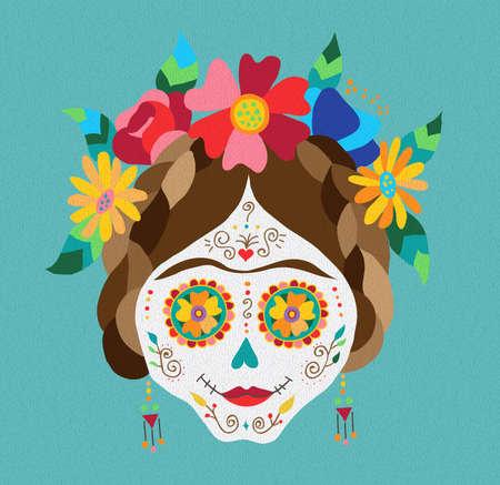 Traditionele Mexicaanse catrina schedel met verf decoratie en kleurrijke lente tijd bloemstuk op het haar. EPS10 vector. Stock Illustratie