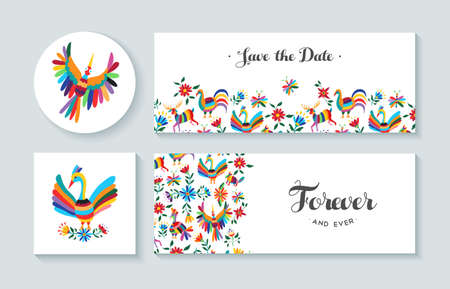 Invitation cards set with colorful spring designs of flowers and animals. Includes text quotes perfect for anniversary, wedding or birthday. EPS10 vector. Illustration