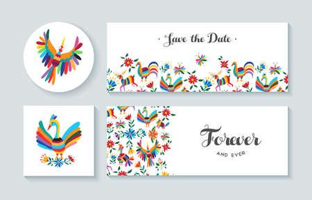 tarjetas de invitación conjunto con los diseños de colores de primavera de flores y animales. Incluye texto cita perfecta para el aniversario, boda o cumpleaños. EPS10 del vector.