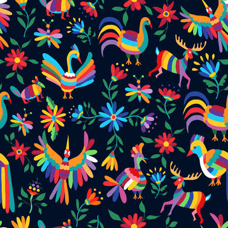 Vibrant color seamless pattern with happy spring time illustrations of mexican art style animals and flowers nature elements. EPS10 vector. Ilustracja
