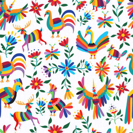 Traditional mexican art background, seamless pattern of colorful wild animals and spring time flowers. EPS10 vector.