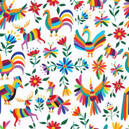 Traditionelle mexikanische Kunst Hintergrund, nahtlose Muster der bunte wilde Tiere und Frühling Blumen. EPS10 Vektor. Standard-Bild - 55094004