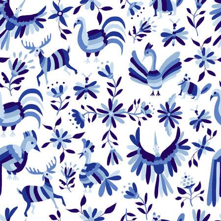 빈티지 스타일 자연 원활한 패턴, 동물 및 꽃 디자인 남빛 블루 색상. EPS10 벡터입니다.