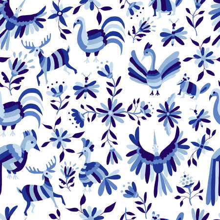 Vintage style nature seamless pattern, animals and flowers design in indigo blue color. EPS10 vector.