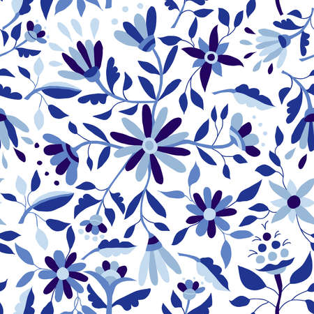 color background: Blue indigo color seamless pattern with vintage flower illustrations, spring time season floral background art. EPS10 vector. Illustration