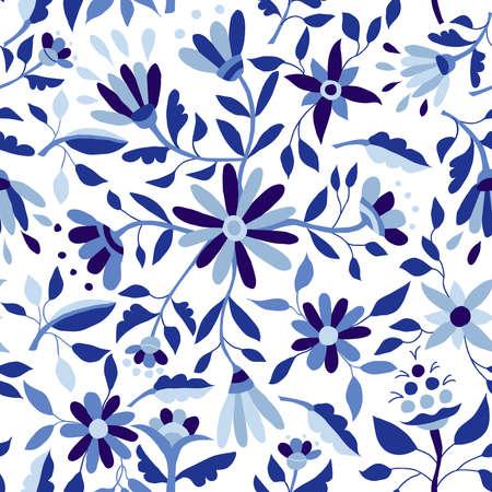 Het blauwe naadloze patroon van de indigokleur met uitstekende bloemillustraties, van de de lentetijd seizoen bloemenart. EPS10 vector. Stock Illustratie