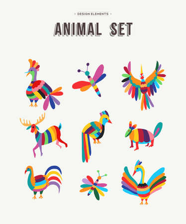 Fun set of animals in colorful kid friendly design ideal for decoration or icons, birds, insects, deer and more. EPS10 vector.