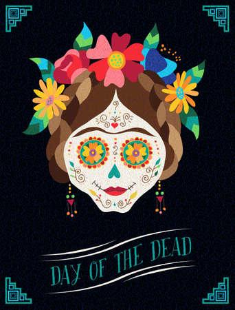 México los días de fiesta diseño del cartel de la ilustración del arte muerto, cráneo pintado tradicional con decoración floral. EPS10 del vector.