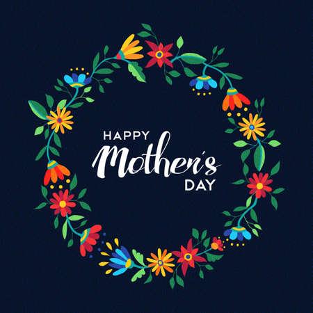 Het gelukkige ontwerp van de moedersdagcitaat met de leuke illustratie van de bloemkrans in levendige de lentetijdkleuren van de lente. EPS10 vector. Vector Illustratie