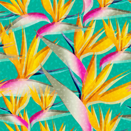 birds of paradise: Bird of paradise flower background retro seamless pattern in vibrant colors ideal for summer time season. EPS10 vector.