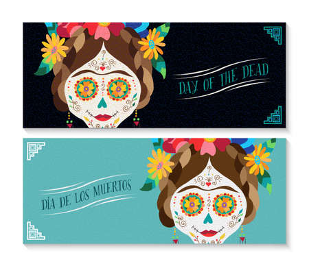 Banner set for traditional mexico holiday day of the dead with cute mexican catrina skull dressed as famous painter. EPS10 vector.