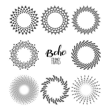 african americans: Set of boho style mandalas and frames in black and white design with tribal shapes. EPS10 vector.