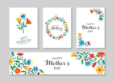 mother: Set of retro flower cards template with spring time illustrations for special mothers day family event. EPS10 vector.