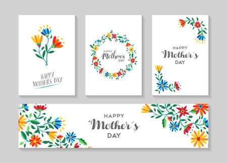 Set Retro- Blumenkarten-Vorlage mit Frühling Illustrationen für besondere Mütter Tag Familienereignis. EPS10 Vektor. Vektorgrafik