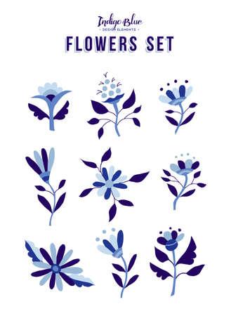 indigo: Set of indigo blue flower icon elements, trendy spring time nature illustrations in vintage style. EPS10 vector.