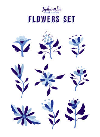 Set of indigo blue flower icon elements, trendy spring time nature illustrations in vintage style. EPS10 vector.