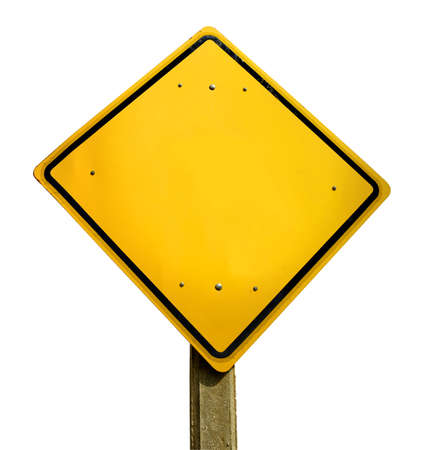 signals: Empty yellow road traffic sign template with copy space isolated on white background.