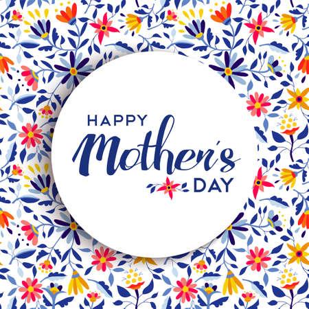 Het gelukkige ontwerp van de moedersdagcitaatembleem over de lentebloemachtergrond, ideaal voor speciale gebeurtenisgroetkaart. EPS10 vector.