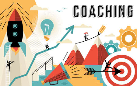 Coaching concept illustration, achieve your business goals at work. Flat art outline style elements related to job success. EPS10 vector.