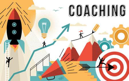 Ilustracja koncepcji coachingu, osiągnięcie celów biznesowych w pracy. Elementy stylu konspektu sztuki płaskiej związane z sukcesem w pracy. Wektor EPS10.