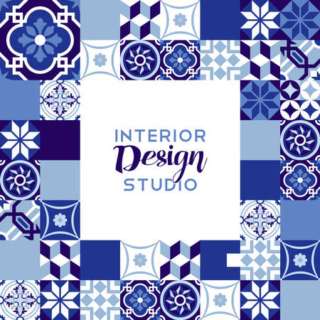 iberian: Interior design studio illustration with classic vintage ceramic mosaic tile decoration in indigo blue color. EPS10 vector.